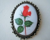 """Vintage Porcelain Brooch, White Oval Cabochon, Bright Red Long Stem Rose Bud, Antique Silver Bezel with Bail, 2 x 1.5"""""""