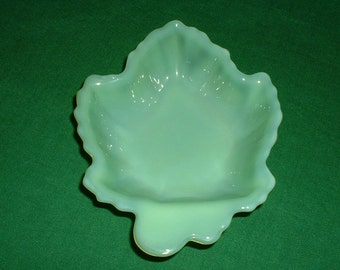 Fire King Jadite Maple Leaf Candy Dish Jadeite Spoon Rest Vintage Trinket Holder Bowl