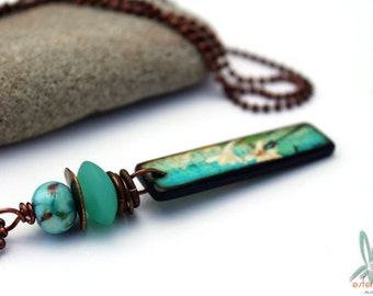 Summer in Hawaii - stacked pendant necklace in blue and turquoise with an art tile pendant combined with lampwork glass beads