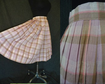 Neopolitan Striped Cotton Vintage 1950's Rockabilly Pleated Full Skirt XS S