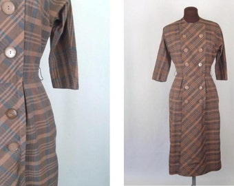 Vintage 50's 60's Dress Shift in Camel Brown and Black Plaid Size S / Small