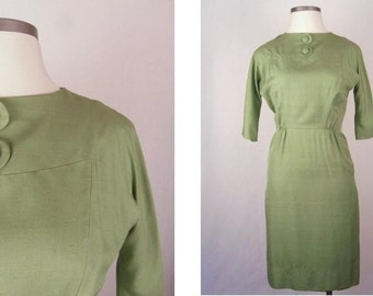 Vintage 60s Dress Fitted Mad Men Style Celery Green Size L / Large