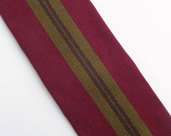 Vintage 60's Skinny Silk Tie Necktie Burgundy Red and Black with Olive Green Stripe by Bullock's Rockabilly