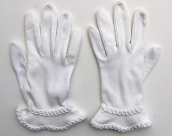 Vintage 60's Women's Gloves White Gauntlet Cuff and Braided Trim Size 6.5 / 7