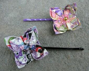 Pair of Pink, Purple, Lavender Origami Flower Hair Pins
