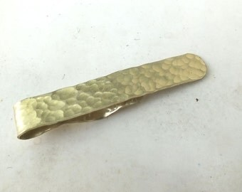 Mens Brass Tie Clip---DImpled Texture  in Shiny Finish