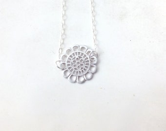 Sterling Silver and Gold Filled Lace Charm Necklace