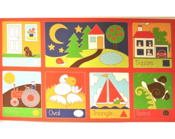 Vintage Retro 1970s Finnish Wall Hanging for Child's Room ... Design Shapes for Finlandia + C.L.O.T.H., Graphic Bold Screen Print, Red Blue