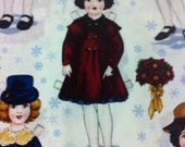 Holiday paper Dolls Cotton Fabric/Sewing Craft Supplies/Sewing Supplies / Quilting / Home Decor