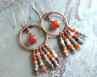 Boho Earrings, Orange Beaded Earrings, Copper Hoop Earrings, Bohemian Jewelry