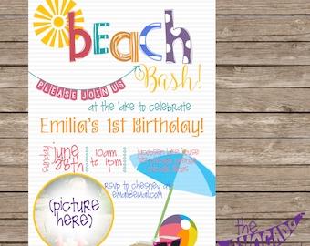 Fun Summer Beach Birthday Invitation (Birthday or any event!) - DIY Printing or Professional Prints