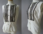 Vintage 1960s Polka Dot  Blouse - Sleeveless  -  Cotton Lace Top