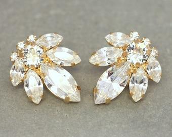 Bridal Crystal Earrings,Swarovski Wedding Earrings, Crystal Stud Earrings,Bridesmaids Earrings,Gift for Her,Rose Gold Studs Bridal Studs