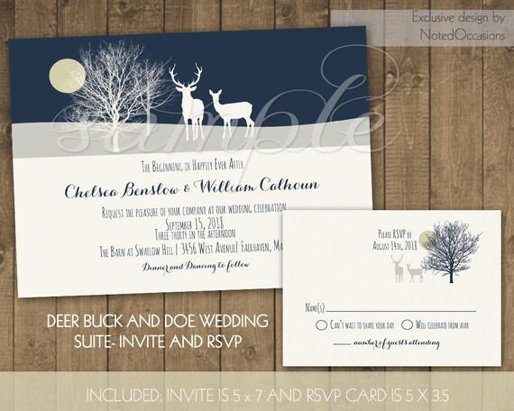 Deer Wedding Invitations: Deer Wedding Invitations Rustic Winter Wedding By