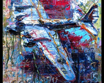SOLD - Oil Painting 20 by 20 by 3/4 in. / Original oil painting vintage aircraft airplane NYC gallery museum Chelsea NY impasto thick
