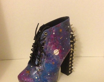 Out of Space Galaxy Hand Painted Custom Order Statement Spike Booties, Galaxy shoes, Spike boots