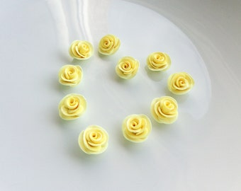Yellow rose beads handsculpted from polymer clay
