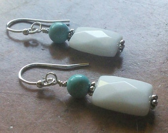 Turquoise and White Jade Earrings white jade earrings turquoise earrings turquoise jewelry jade jewelry under 20