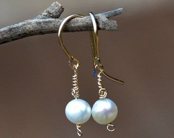Pearl Earrings Single Pearl Earrings Bridal Earrings Gold Filled Earrings Gold Filled Jewelry Pearl Jewelry Bridesmaid Jewelry Free Shipping