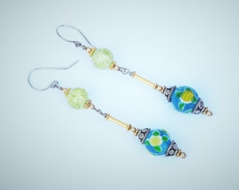 Yellow and Blue Vintage Bead Earrings