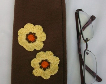 Brown Felt Eye Glasses Case with Two Yellow Crochet Flowers and Yellow Ribbon Trim, Sunglasses Pouch