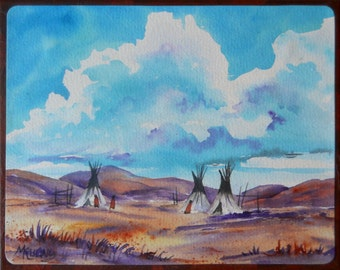 Watercolor on Canvas Southwest Teepees Buttes by Colorado Artist Martha Kisling