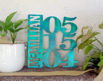 Metal Name Anniversary or Wedding Sign