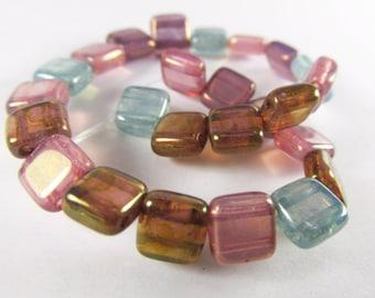 25 Czechmate 6mm 2-hole Square Tila Czech Glass Jewelry Beads in Aqua, Rose Pink, Lavender Plum, Light Copper Brown