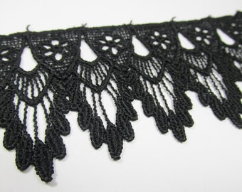 BLACK Venise Lace Bridal Victorian 2.5 inch Scalloped Trim - 1 yard
