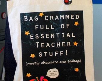 Teacher Stuff Bag Great comical gift for teachers apple gold star blackboard