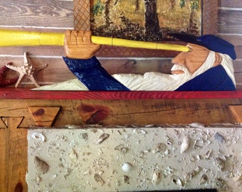Sea Captain w/ Telescope 4ft. maritime chainsaw wood carving lighthouse salty dog in blue nautical wall mount or staind coastal seaside art