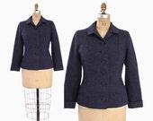 50s Dusty Blue WOOL BLAZER / Vintage 1950s Tweed FLECK Tailored Jacket