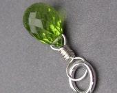 Peridot Birthstone Charm, Peridot Pendant, Peridot Charm, Peridot Gemstone Dangle, Sterling Silver Wire Wrapped Pendant, Stones 10