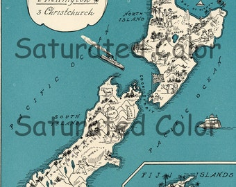 New Zealand Map ORIGINAL 1932 Vintage Picture Map Geography - Pictorial Fun Charming Antique Paul Spener Johst Whimsical Auckland Wellington