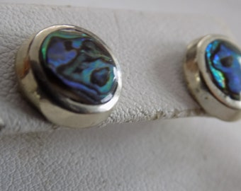 "Vintage earrings, silver and  abalone shell ""Hecho en Mexico"" stud earrings, Mexican jewelry"