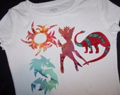 Sun, Deer Dragon and Dinosaur Set , 4 Iron on Appliques cut from batik Fabric in a rainbow of colors,  Easy craft Special this Week
