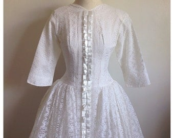 SALE- Vintage 50s/60s white wedding dress