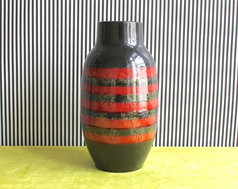 Vintage West German Pottery Striped Vase
