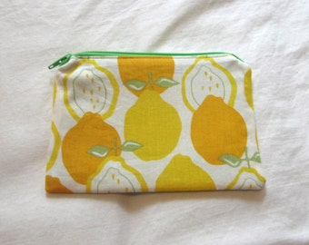 Lemon Fabric Coin Purse/Zipper Pouch