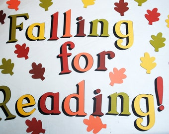 Falling for Reading!-Teacher-Classroom Bulletin Board Decor/Set-Cardstock Letters/Leaves