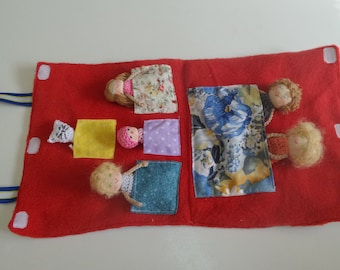 Play Finger Puppets, Family Finger Puppets, Family of Five and a Kitty Pet, Ready to Ship, Crocheted Puppets,
