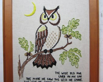Large Vintage Wise Old Owl Crewel Embroidery Wall Hanging - 1970s - Boho Home Decor - Wall Art - Quote - Wisdom