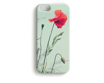 Droplet Poppy - phone Case Floral Motif Poppy red rain drops water weather storm summer