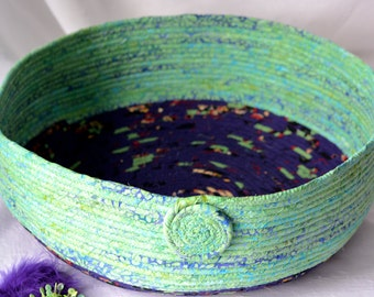 Green Cat Bed, Handmade Coiled Fabric Basket, Beautiful Green Pet Bed, Green and Purple Fabric Basket,  Beautiful Batik Home Decor