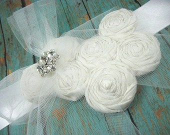 Bridal sash - white sash - wedding - bridal belt - maternity sash - rosette sash - wedding accessories