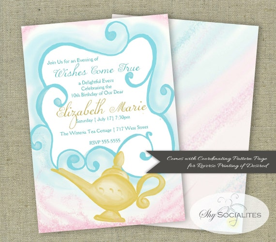 Magic Lamp Invitation Three Wishes Party Aladdin Magi