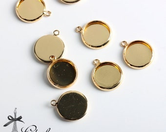 500Pcs 12mm Golden plated Raw Brass Round Cameo Base Setting Charm / Pendant with 1 loop (SETHY-243)