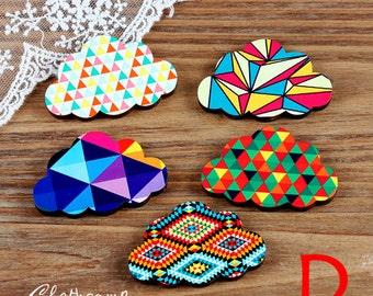 5PCS  Handmade Colorful Geometry / Dot /Wave /Heart /Arrow/ Lattice / Cloud Laser Cut wood Charms / Pendants-(WJ-D)