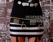 Black & White Striped PUNK Skirt Street Punk Rock Clothing Rock n Roll Mini Skirt 80s Streetwear Glam Rock Hair Metal XS - XXL