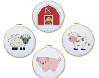 Farm Cross Stitch Pattern of Cute Farm Animals - Cow, Pig, Sheep and Barn - PDF File - Hoop Art - Country Cross Stitch, X Stitch, Embroidery